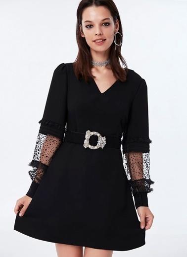 Ipekyol Transparan Detaylı V Yaka Mini Elbise Siyah